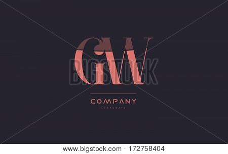 Gw G W Pink Vintage Retro Letter Company Logo Icon Design