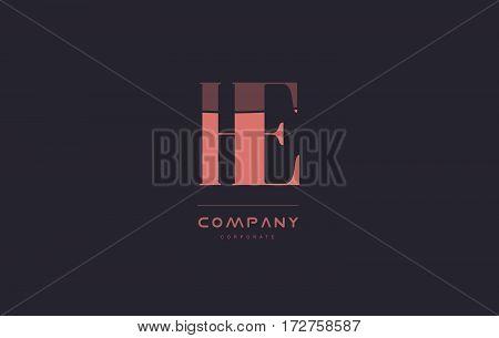 He H E Pink Vintage Retro Letter Company Logo Icon Design