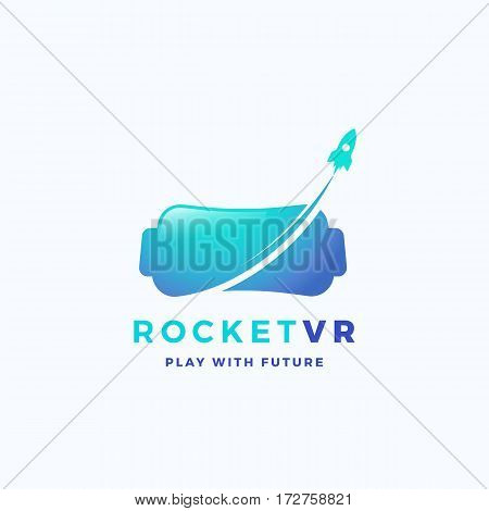 Virtual Reality Rocket Abstract Vector Icon, Sign, or Logo Template. Electronic Glasses Headset Silhouette with Spacecraft. Isolated.
