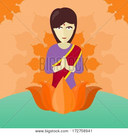 Indian woman isolated on round ornate mandala. Indian girl with crossed hands in colorful robe. Lady from India in national yoga standing behind abstract lotus flower. Vector illustration