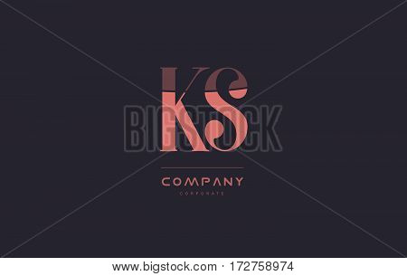 Ks K S Pink Vintage Retro Letter Company Logo Icon Design