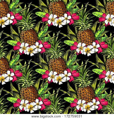 Tropical flowers, jungle leaves, paradise flower. Beautiful seamless floral pattern background, exotic print