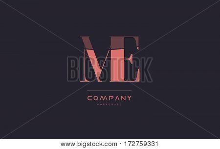 Me M E Pink Vintage Retro Letter Company Logo Icon Design