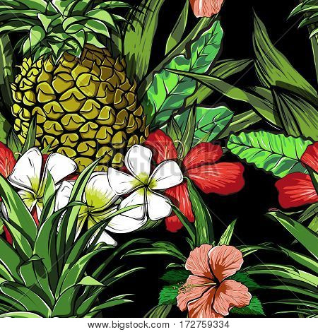 Tropical flowers, jungle leaves, paradise flower. Beautiful seamless vector floral pattern background, exotic print. EPS