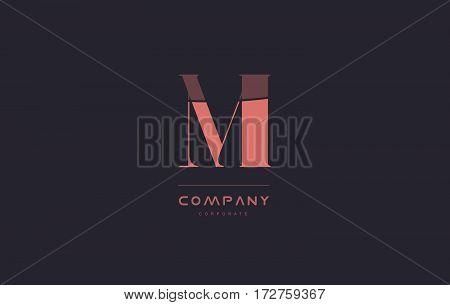 Mi M I Pink Vintage Retro Letter Company Logo Icon Design