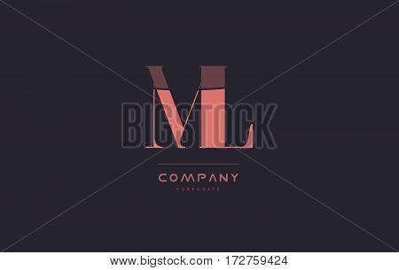 Mm M M Pink Vintage Retro Letter Company Logo Icon Design