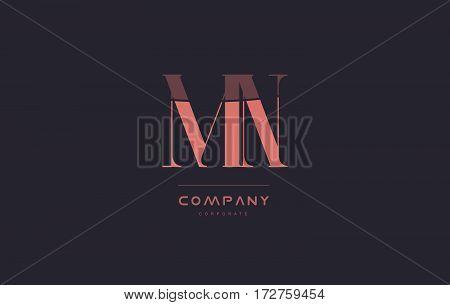 Mn M N Pink Vintage Retro Letter Company Logo Icon Design