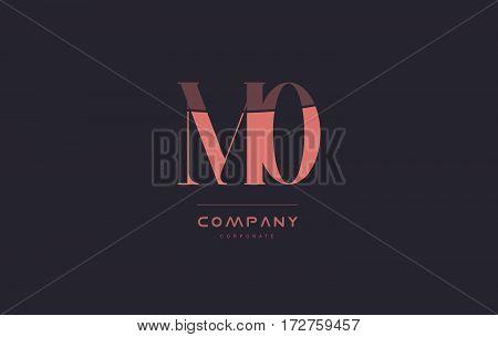 Mo M O Pink Vintage Retro Letter Company Logo Icon Design
