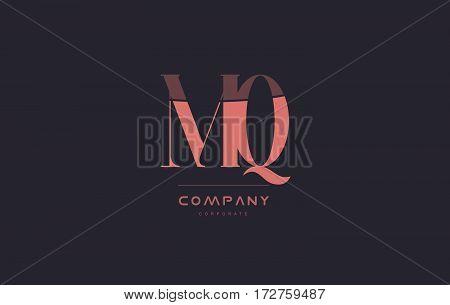 Mq M Q Pink Vintage Retro Letter Company Logo Icon Design