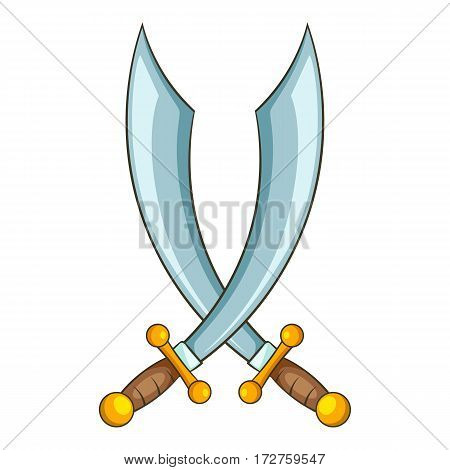 Crossed pirate sabers icon. Cartoon illustration of crossed pirate sabers vector icon for web
