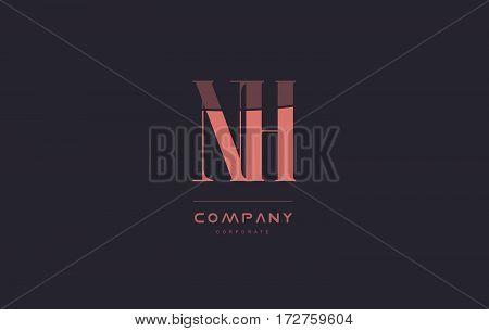 Nh N H Pink Vintage Retro Letter Company Logo Icon Design