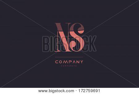 Ns N S Pink Vintage Retro Letter Company Logo Icon Design
