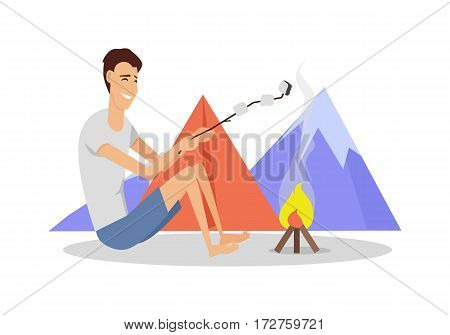 Recreational activity. Camping tent near fire and mountains on background with barbeque stick. For web banner, marketing and promotional material, presentation templates. Man cooking on fire. Vector