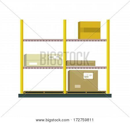 Shelf with cartoon box. Box and cartoon, shelving and carton box, paper box, racks with boxes, cartoon frame, warehouse storage with box, cardboard container, cargo cartoon box illustration in flat