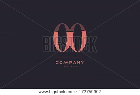 Oo O Pink Vintage Retro Letter Company Logo Icon Design