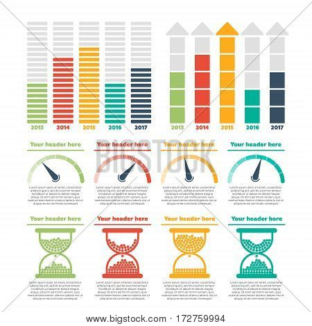 Infographics elements. Progress bars, speed bars vector illustration