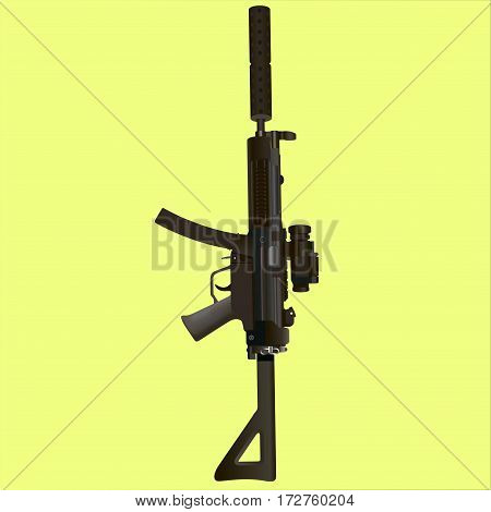 Military rifle on a yellow background. Vector illustration