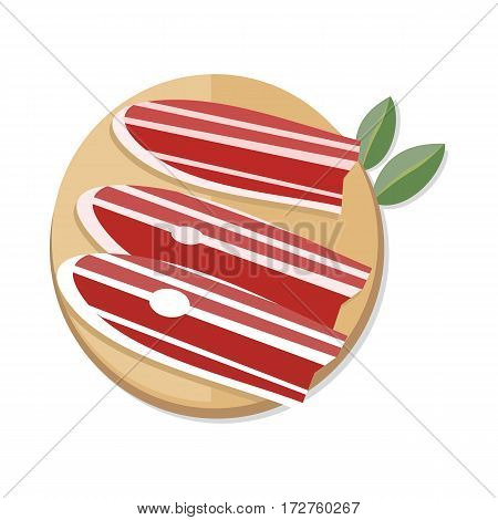 Three slices of spanish dry-cured ham on wooden desk isolated on white. Jamon Serrano. Serrano ham jamon Cured Meat. Tasty bacon. Spanish cuisine snack in flat style design. Vector illustration