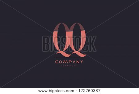 Qq Q Q Pink Vintage Retro Letter Company Logo Icon Design