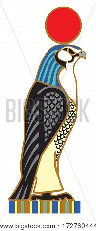 Egyptian falcon Horus. Sky god in ancient Egypt. Side view vector isolated on white