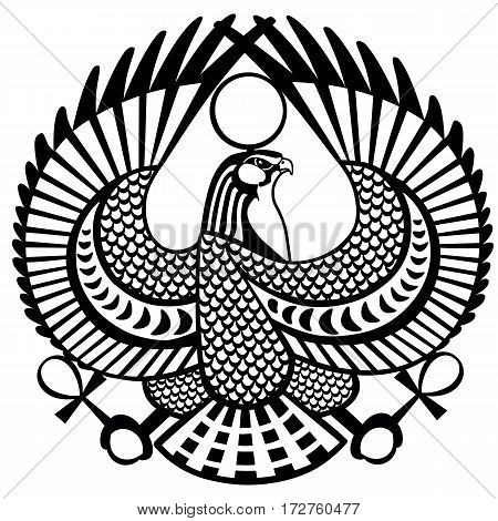 falcon ancient Egyptian symbol of god Horus .Black and white vector tattoo