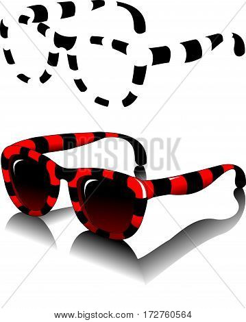 Black sun glasses side view on a white background