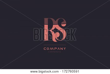 Rs R S Pink Vintage Retro Letter Company Logo Icon Design