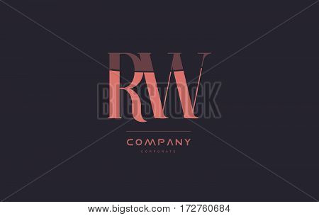 Rw R W Pink Vintage Retro Letter Company Logo Icon Design