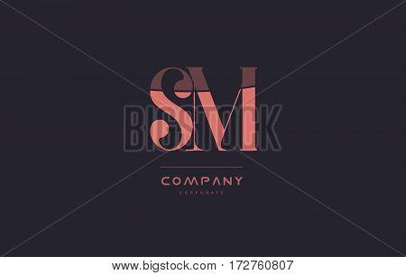 Sm S M Pink Vintage Retro Letter Company Logo Icon Design