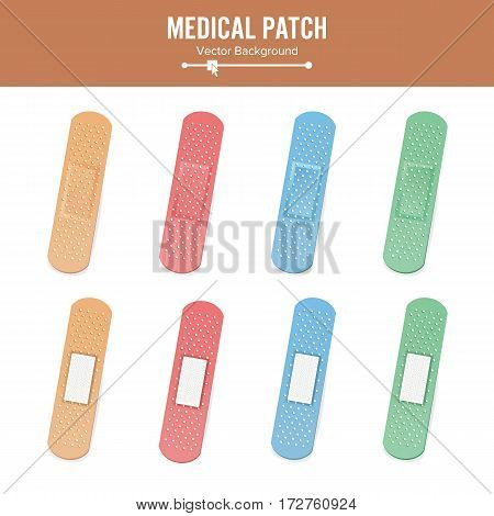 Medical Patch Vector. Two Sides. Adhesive Waterproof Aid Band Plaster Strips Varieties Icons Collection. Realistic Illustration Isolated On White