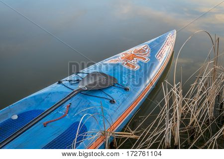 FORT COLLINS, CO - FEBRUARY 18, 2017:  A bow of Starboard racing stand up paddleboard with carbon fiber Quickblades paddle.