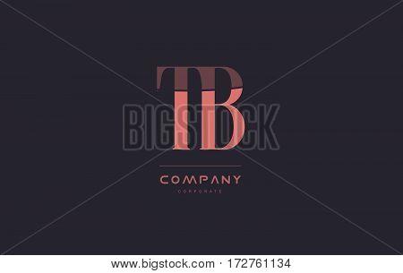 Tb T B Pink Vintage Retro Letter Company Logo Icon Design