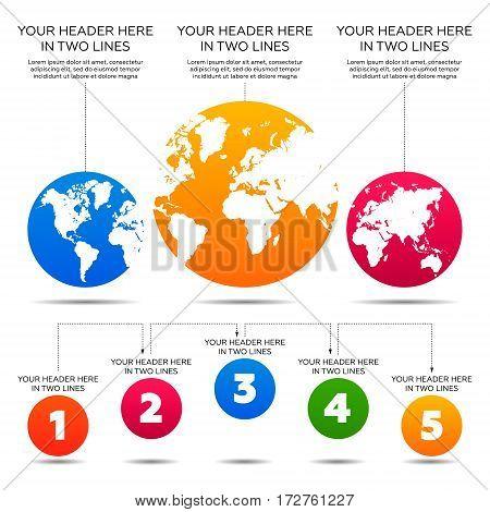 Infographics elements. World map, 5 steps vector illustration