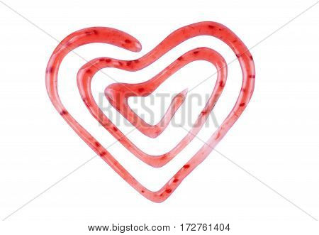 Heart made from raspberry jam Cooked, Passion, Darling, Lover, Dear, Sweetheart,