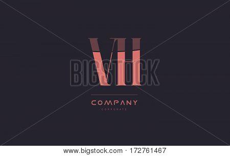Vh V H Pink Vintage Retro Letter Company Logo Icon Design