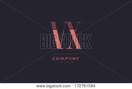 Vx V X Pink Vintage Retro Letter Company Logo Icon Design