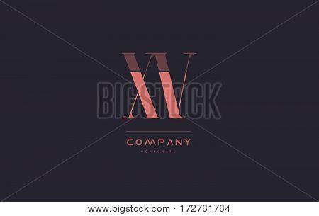 Xv X V Pink Vintage Retro Letter Company Logo Icon Design