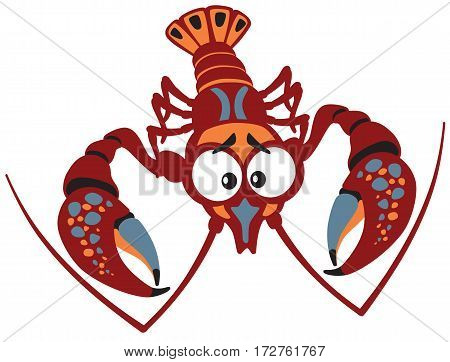 cartoon crayfish lobster vector illustration isolated on white