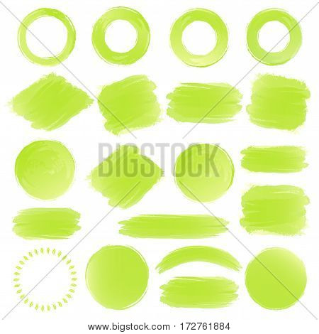 Watercolor shapes green color for your emblem and logo such as natural product, healthy food, fresh food, organic product, vegan food, farm fresh food, bio and eco product. Vector Illustration