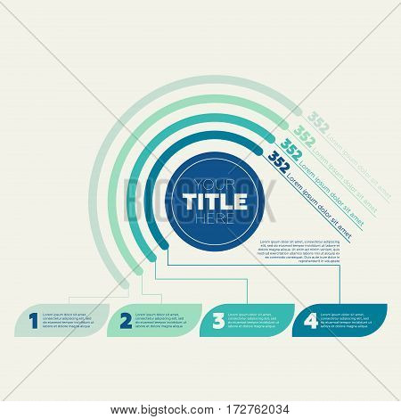 Infographics elements. Pie chart, 4 steps and circle header