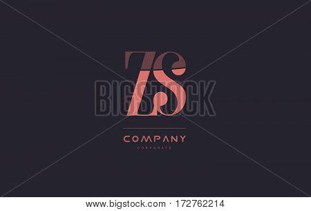 Zs Z S Pink Vintage Retro Letter Company Logo Icon Design