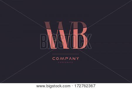 Wb W B Pink Vintage Retro Letter Company Logo Icon Design