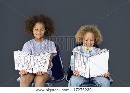 Little Children Reading Book Smile