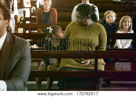 Mother Daughter Sitting Church Believe Religion