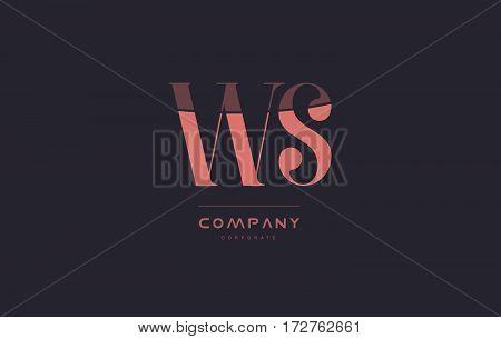 Ws W S Pink Vintage Retro Letter Company Logo Icon Design