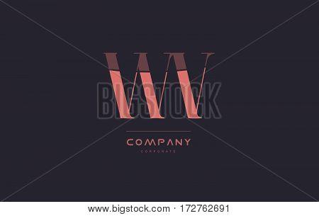Wv W V Pink Vintage Retro Letter Company Logo Icon Design