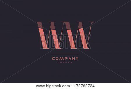 Ww W Pink Vintage Retro Letter Company Logo Icon Design