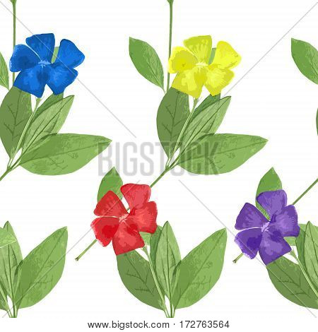 Periwinkle. Texture of flowers. Seamless pattern for continuous replicate. Floral background photo collage for production of textile cotton fabric. For use in wallpaper covers.
