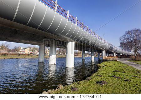 Metro overpass from Spijkenisse to Rotterdam in the Netherlands