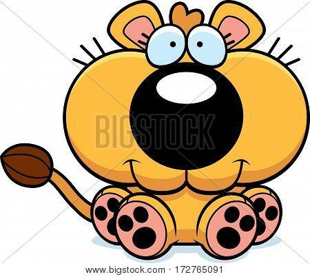 Cartoon Lioness Cub Sitting